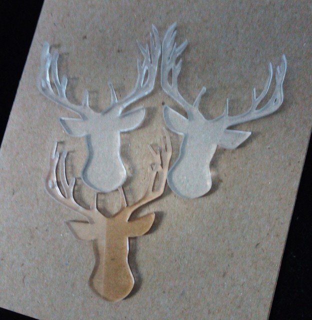Clear Acrylic deer head 55 x 40mm pack of 5